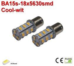 2x BA15s-18-5630smd- Cool- Wit  10-30v