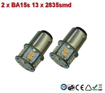 2 x BA15s- 13x2835smd- Warm-Wit 10-36v