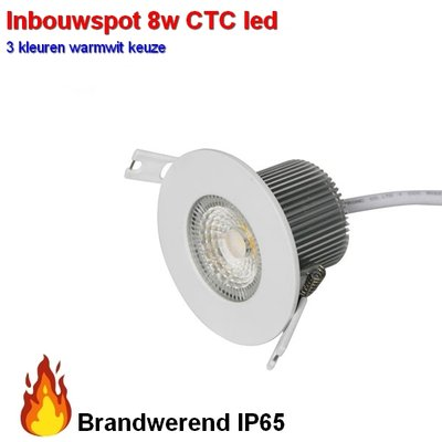 Inbouwspot 8w Brandwerend waterproof CTC 2700-3000-4000 kleuren-switch  Dimbaar