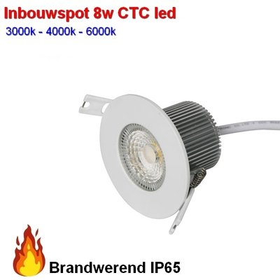 Inbouwspot 8w Brandwerend waterproof CTC 3000-4000-6000 kleuren-switch  Dimbaar