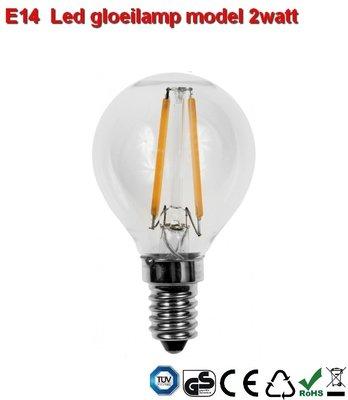 E14 LED filament bol design 2w Warmwit