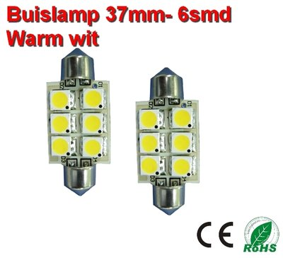 2x Buislamp 37mm 6 SMD Warm-wit (185 lumen) 10-30v