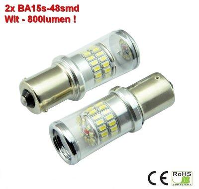 2x BA15s-48smd Wit