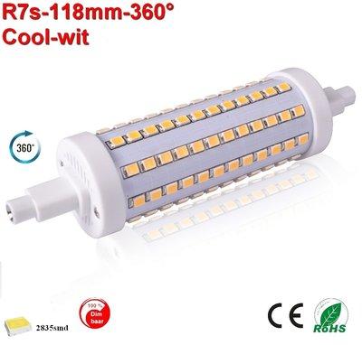 R7s LED lamp -118mm-10w-360gr -dimbaar Cool-wit