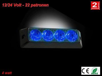12-24v Led grillflitser 4watt blauw