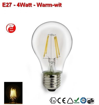E27 Gloeispiraal design LED 4w Warmwit Dimbaar
