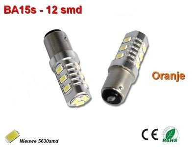 2x BA15s-12-5630smd- Oranje 12v