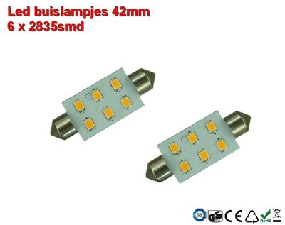 Led-buislampen 42mm 6 x 2835smd Cool-wit 10-30v