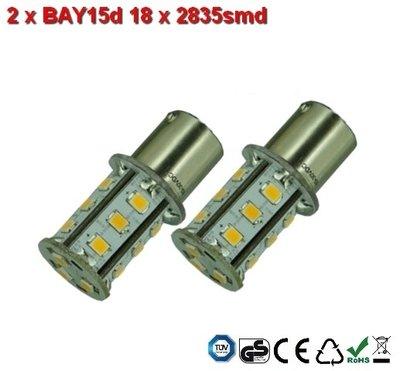 2 x BAY15d-18x2835smd- Warm-Wit 10-30v Navigatie