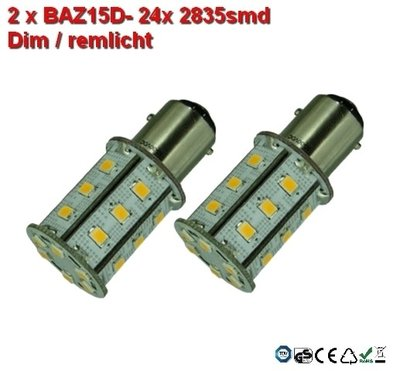 2x BAZ15D-24smd Wit-Remlicht