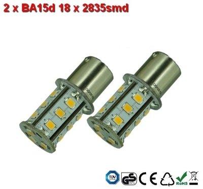 2 x BA15d-18x2835smd- Warm-Wit 10-30v Navigatie