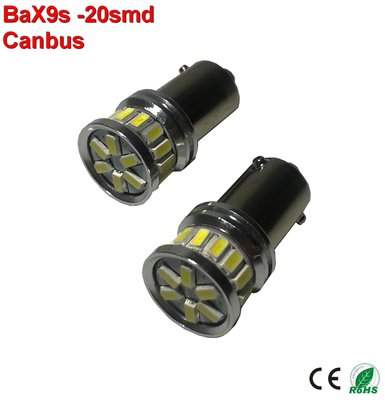 2x  BAX9s -20-3014 SMD Canbus 380lumen