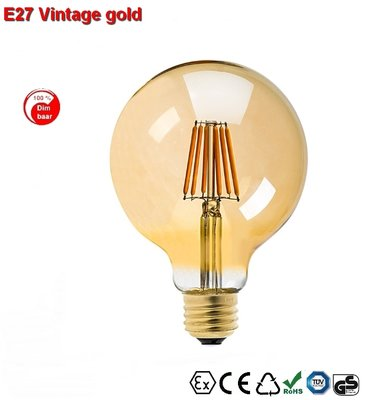 E27 Vintage G95 led lamp 6w gold-warmwit Dimbaar
