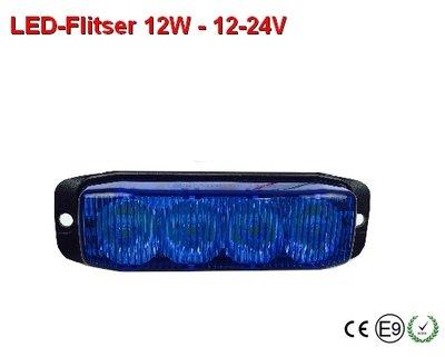 12-24v Led flitser 12W Blauw ECE R10