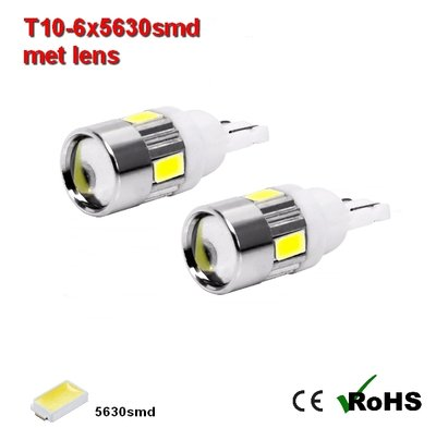 2x -T10 led lamp  met 6 x 5630smd  Wit 10 tot 36Volt