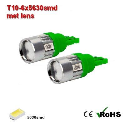 2x -T10 led lamp  met 6 x 5630smd  Groen 12/24Volt