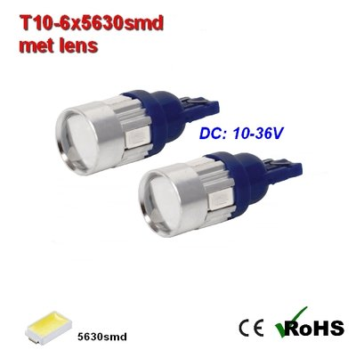 2x -T10 led lamp  met 6 x 5630smd  Blauw 10 tot 36Volt