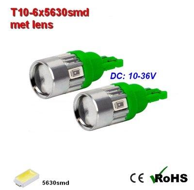 2x -T10 led lamp  met 6 x 5630smd  Groen 10 tot 36Volt