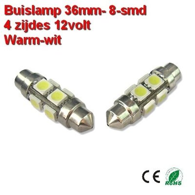 2x Buislamp 36mm 8SMD rond Warm-wit (160 lumen) 12v