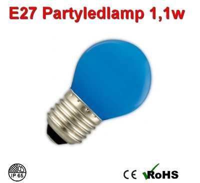 E27 Party ledlamp 1 watt Blauw Mini IP65