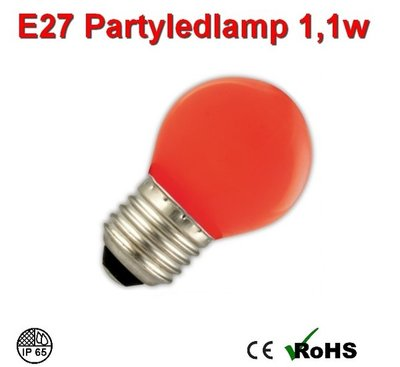 E27 Party ledlamp 1 watt Rood Mini IP65