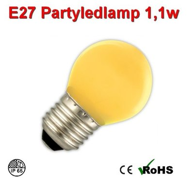 E27 Party ledlamp 1 watt Geel Mini IP65