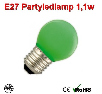E27 Party ledlamp 1 watt Groen Mini IP65