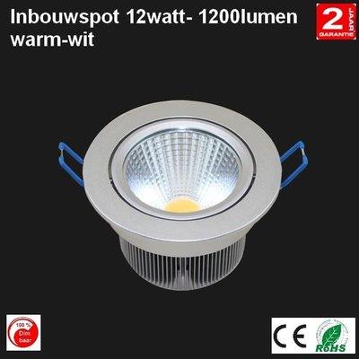 LED Cob Inbouwspot 12w Rond warm-wit 1200 lumen Dimbaar