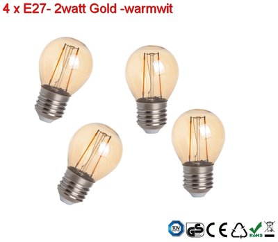 4x E27 Vintage G45 Led lampen 2w Gold-warmwit