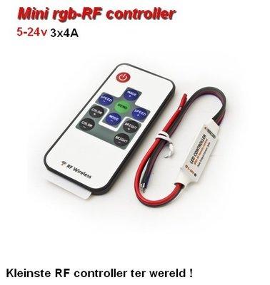 Ultra-mini-RGB controller + remote-RF gestuurd