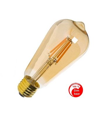 E27 Vintage ST64 Led lamp 3w Gold-warmwit Dimbaar