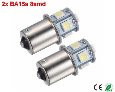 2x BA15s led lamp met 8smd- Cool-Wit 10-36v