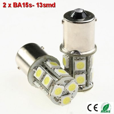 2x BA15s led lamp met 13smd- Cool-Wit 10-36v