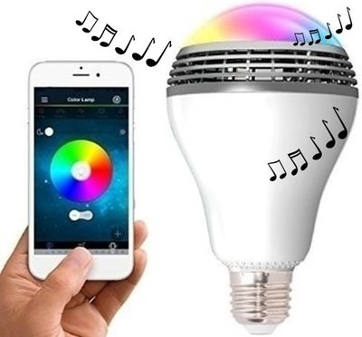 E27 Draadloze RGB music Led lamp 8w Bluetooth