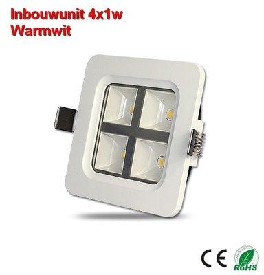 Inbouw-unit 4x1w Warmwit 400 lumen