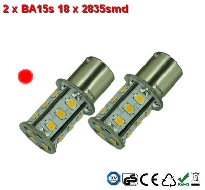 2x BA15s 18x2835smd Rood 10-36v