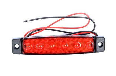 LED zijmarkering 6 led 12-24v Rood E-keur