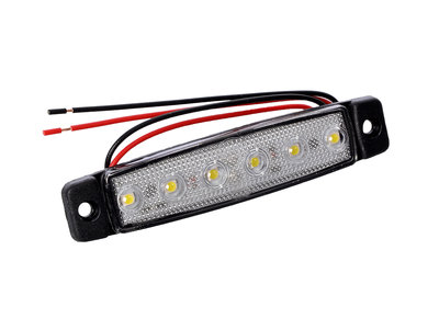 LED zijmarkering 6 led 12-24v Wit E-keur