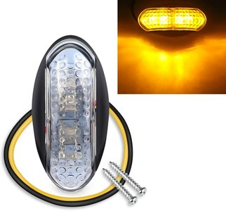 Led sidemarker contourverlichting 4led 12/24V Oranje helder glas