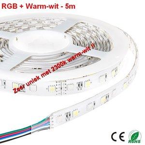 5Meter LEDstrip RGB en Gold Warm-wit 300 smd -IP65