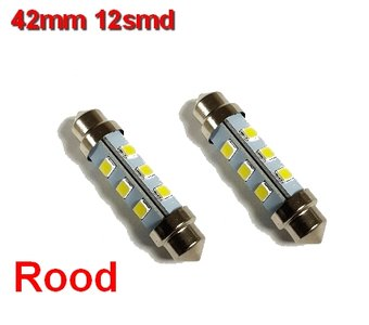 Buislampen 42mm 2835smd Rood 10-40v