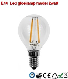 E14 LED filament bol design 2w Warmwit