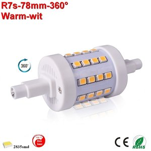 R7s LED lamp -78mm-5w-360gr dimbaar Warmwit
