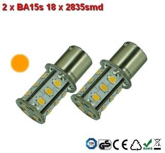 2 x BA15s- 18x2835smd- Oranje 10-30v