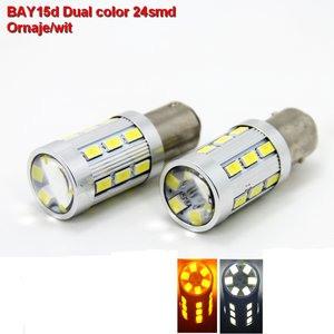 2 x BAY15d-24SMD Dual color Oranje-wit