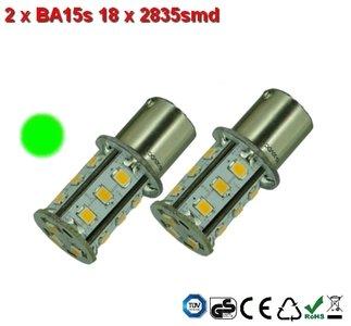 2 x BA15s 18x2835smd Groen 10-30v