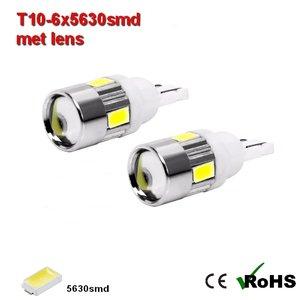 2x -T10 led lamp  met 6 x 5630smd  Wit 10 tot 36Volt