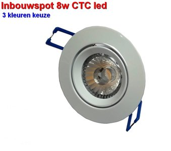 Inbouwspot 8w CTC  3 kleuren-switch  Dimbaar