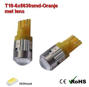 2x -T10 led lamp  met 6 x 5630smd  Oranje 12Volt