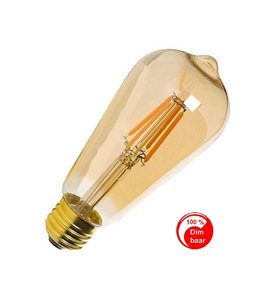 E27 Vintage ST64 Led lamp 3w Gold-warmwit Dimbaar